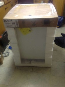 Dishwasher in Shipping Package
